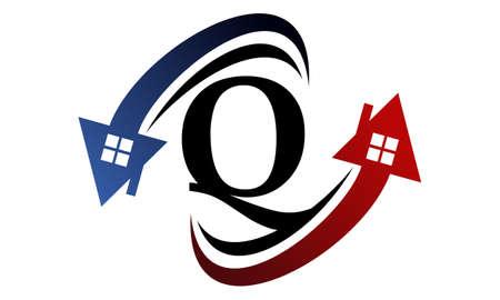 Real estate letter Q for symbol icon in flat style design Illustration