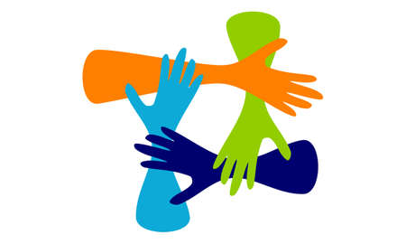 Synergy solution with colorful hands in flat design
