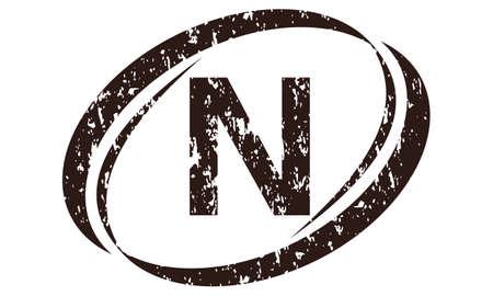 Letter N Rough Logo vector illustration.
