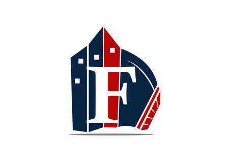 Real Estate Letter F logo vector illustration. Logo