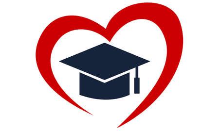 Foundation for Education, graduation cap in heart logo, vector illustration.