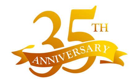 35 Year Ribbon Anniversary vector illustration.