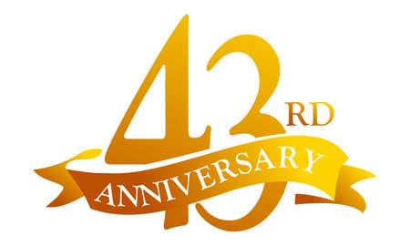 43 Year Ribbon Anniversary vector illustration.