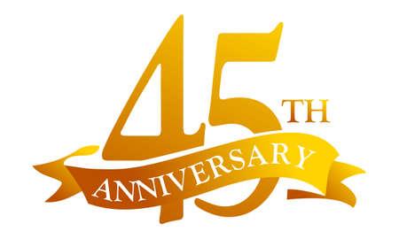 45 Year Ribbon Anniversary vector illustration.