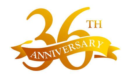 number 36: 36 Year Ribbon Anniversary