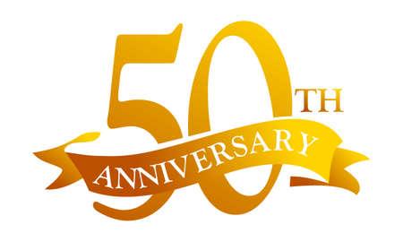 50th year anniversary logo celebration with ribbon Logo