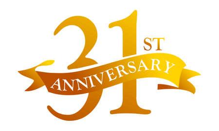 리본으로 31 주년 기념 로고 축하입니다.