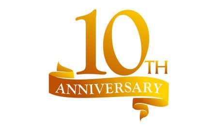 Aniversario de cinta de 10 años Foto de archivo - 89824246
