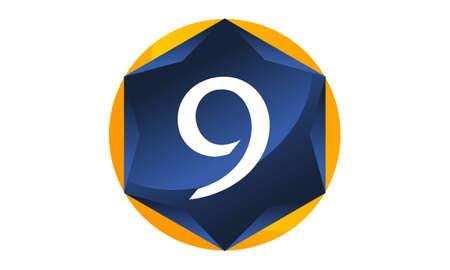Modern Number 9 emblem template