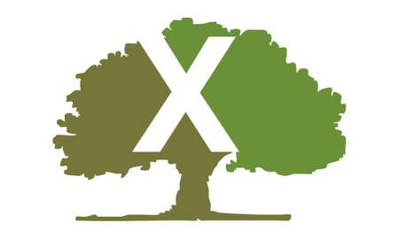 Oak Tree Letter X emblem template Illustration