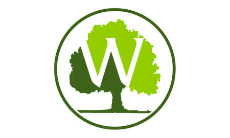 Oak Tree Letter W vector illustration.