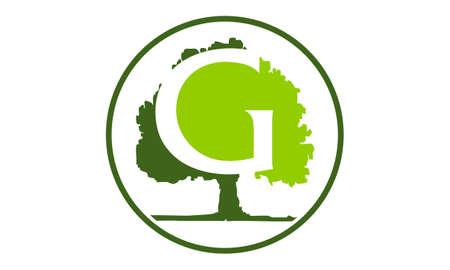 Oak Tree Letter G vector illustration. Illustration