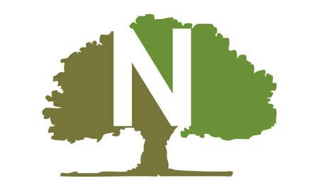Oak Tree Letter N vector illustration.