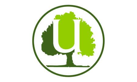 Oak Tree Letter U vector illustration. Illustration