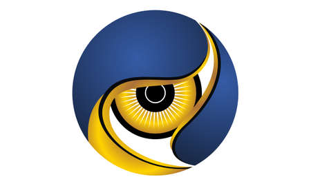 Surveillance Logo Design Template Vector, blue, yellow, eye