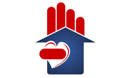 Home Real Estate Love, hand, house, logo