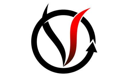 Letter V Vapor System  logo concept design.