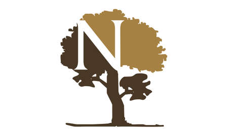 Letter N in a tree logo design concept.