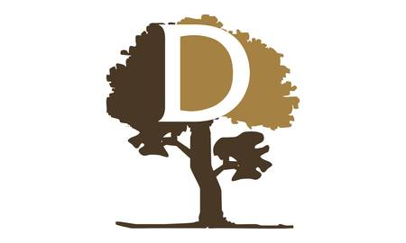 Tree with Letter D logo design concept.