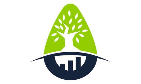 Tree Business Incubator logo design concept. Illustration