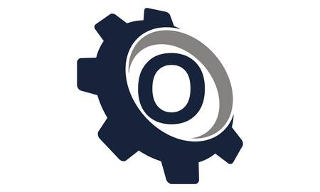 Gear with Letter O logo concept design.