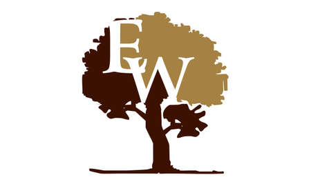 Tree with Letter E and W logo concept design.