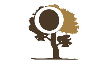 Tree with Letter O logo concept design. Ilustração