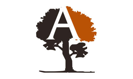 Tree with Letter A logo concept design.