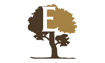 Tree with Letter E logo concept design. Illustration