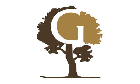 Tree with Letter G logo concept design.