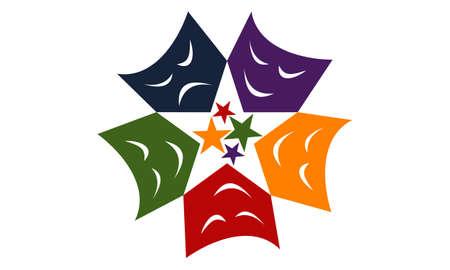 Theatrical Masks logo concept design. Illustration