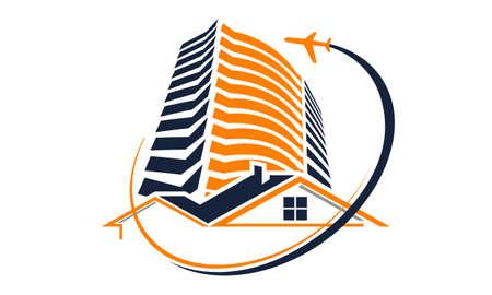 Accommodatie zakenreis pictogram op witte achtergrond, vectorillustratie.