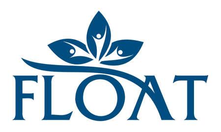 Letter float emblem icon on white background, vector illustration.