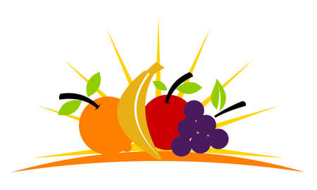 Fruit store icon on white background, vector illustration.