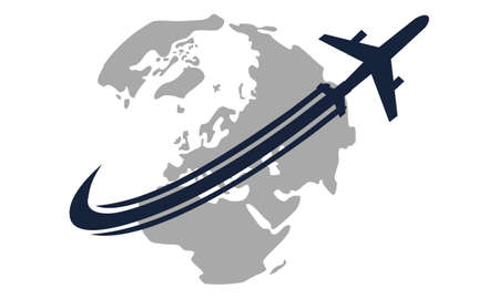 Global traveling travel around the world icon on white background, vector illustration.