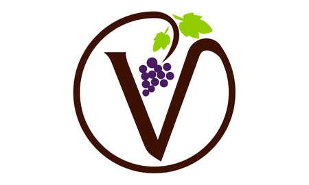 Letter V grape modern