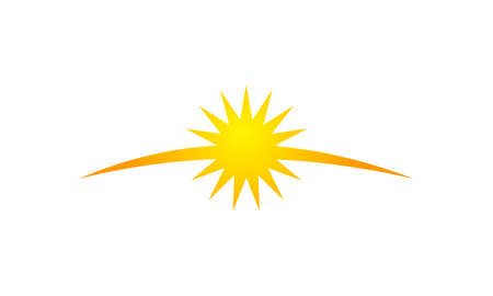 Sun rising with rays vector illustration.