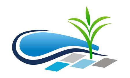 Pool Landscape Design Construction logo Vector illustration. Иллюстрация