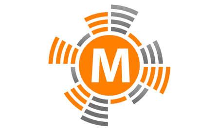 Letter M Sound Service Production logo Vector illustration.