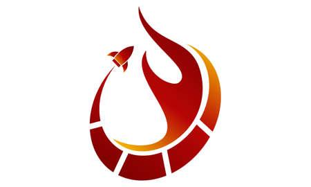 Fire Rapid logo Vector illustration. Vettoriali