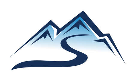 Letter S Mountain Ski Logo Vector illustration.