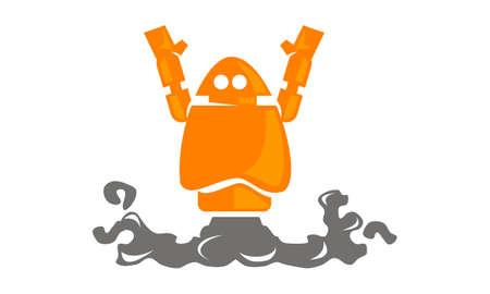 Rocket Robot Logo Vector illustration.