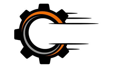 Speed Gear Letter O C Logo Vector illustration. Stock Illustratie