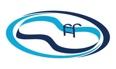 Pool Restoration Service Logo Vector illustration.