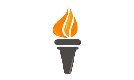Torch Book and Pen Logo Vector illustration.
