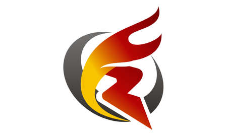 Letter R Fire Logo Vector illustration.