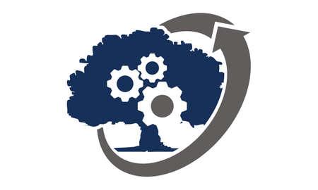 Tree Gear Landscaping Ecology Logo Vector illustration.