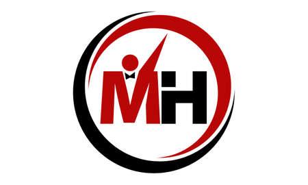 Letter MH Business Success Logo Vector illustration. Vettoriali