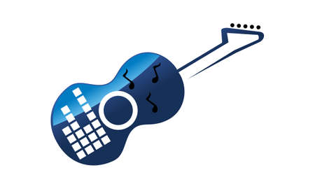 Guitar Music Lesson Logo Vector illustration. Illustration