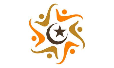 Muslim Community Success illustration good for logo.